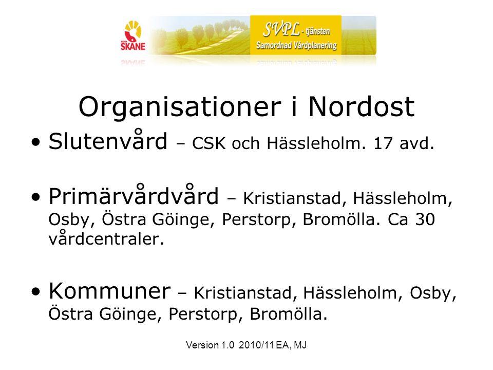 Version 1.0 2010/11 EA, MJ Organisationer i Nordost Slutenvård – CSK och Hässleholm.