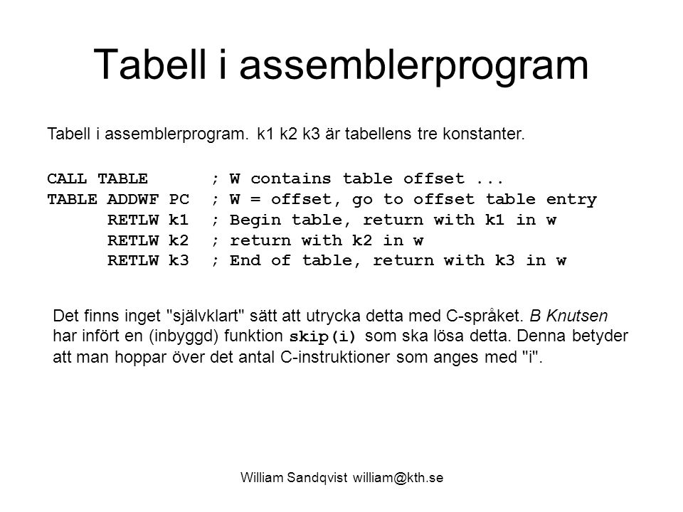 William Sandqvist william@kth.se Tabell i assemblerprogram CALL TABLE ; W contains table offset...