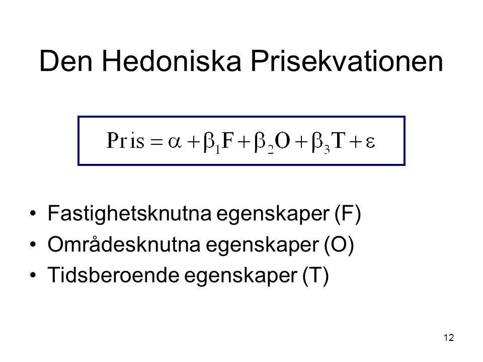 12 Den Hedoniska Prisekvationen Fastighetsknutna egenskaper (F) Områdesknutna egenskaper (O) Tidsberoende egenskaper (T)