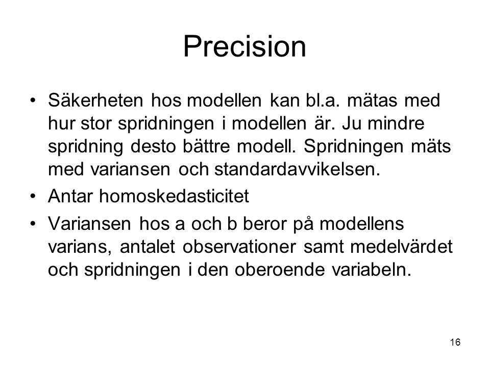 16 Precision Säkerheten hos modellen kan bl.a.mätas med hur stor spridningen i modellen är.
