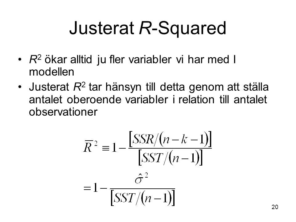 20 Justerat R-Squared R 2 ökar alltid ju fler variabler vi har med I modellen Justerat R 2 tar hänsyn till detta genom att ställa antalet oberoende variabler i relation till antalet observationer