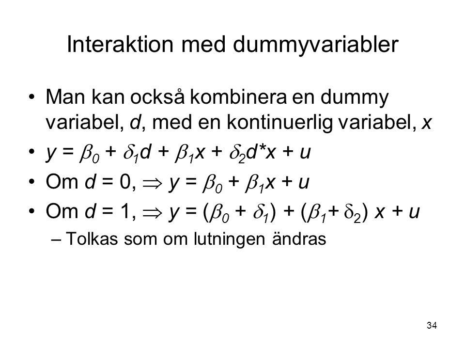 34 Interaktion med dummyvariabler Man kan också kombinera en dummy variabel, d, med en kontinuerlig variabel, x y =  0 +  1 d +  1 x +  2 d*x + u Om d = 0,  y =  0 +  1 x + u Om d = 1,  y = (  0 +  1 ) + (  1 +  2 ) x + u –Tolkas som om lutningen ändras