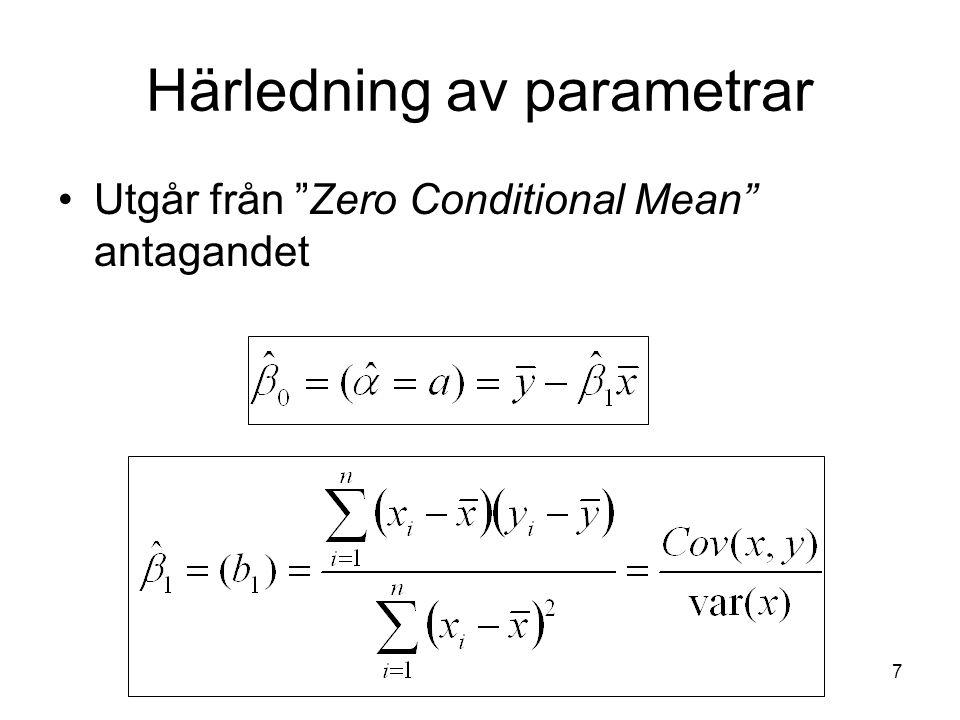 18 Modellen förklaringsgrad Determinationskoefficienten, goodness of fit , R-square, R 2 SST: Total variation i den beroende variabeln SSE: Variation som kan förklaras av modellen SSR: Oförklarad variation TSS=SSE+SSR R 2 =SSE/SST=1-SSR/SST