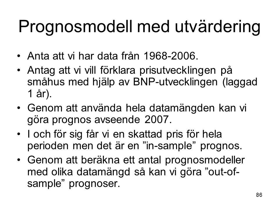 86 Prognosmodell med utvärdering Anta att vi har data från 1968-2006. Antag att vi vill förklara prisutvecklingen på småhus med hjälp av BNP-utvecklin
