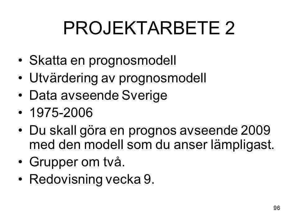 96 PROJEKTARBETE 2 Skatta en prognosmodell Utvärdering av prognosmodell Data avseende Sverige 1975-2006 Du skall göra en prognos avseende 2009 med den modell som du anser lämpligast.