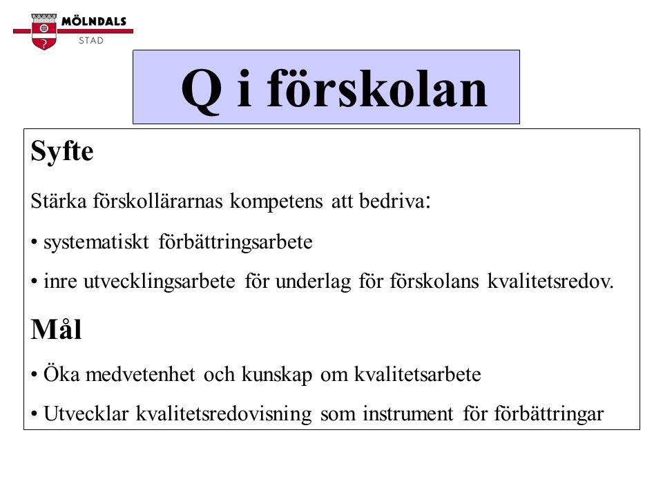 Q i förskolan Syfte Stärka förskollärarnas kompetens att bedriva : systematiskt förbättringsarbete inre utvecklingsarbete för underlag för förskolans kvalitetsredov.