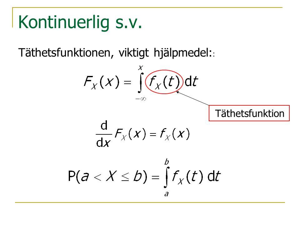 Kontinuerlig s.v. Täthetsfunktion Täthetsfunktionen, viktigt hjälpmedel: :