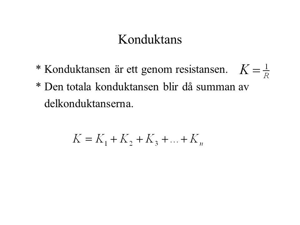 Konduktans * Konduktansen är ett genom resistansen. * Den totala konduktansen blir då summan av delkonduktanserna.