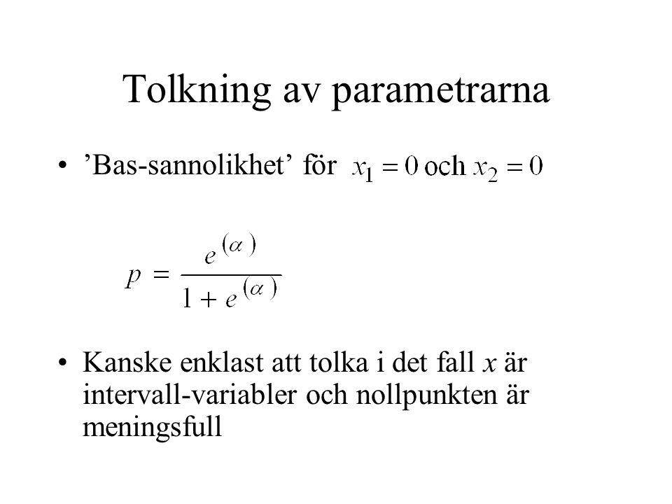 Tolkning av parametrarna 'Bas-sannolikhet' för Kanske enklast att tolka i det fall x är intervall-variabler och nollpunkten är meningsfull