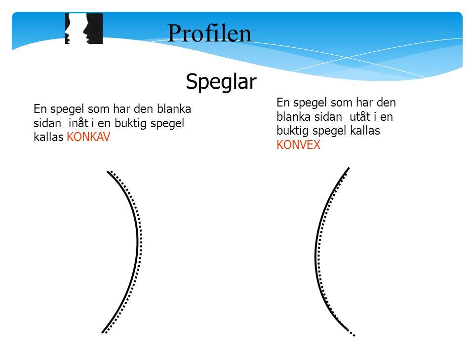 Profilen Speglar En spegel som har den blanka sidan inåt i en buktig spegel kallas KONKAV En spegel som har den blanka sidan utåt i en buktig spegel k