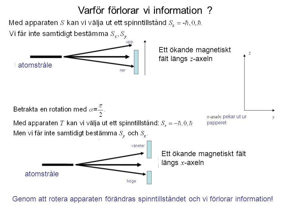 Fk3002 Kvantfysikens grunder10 Varför förlorar vi information ? upp ner atomstråle Ett ökande magnetiskt fält längs z -axeln Ett ökande magnetiskt fäl