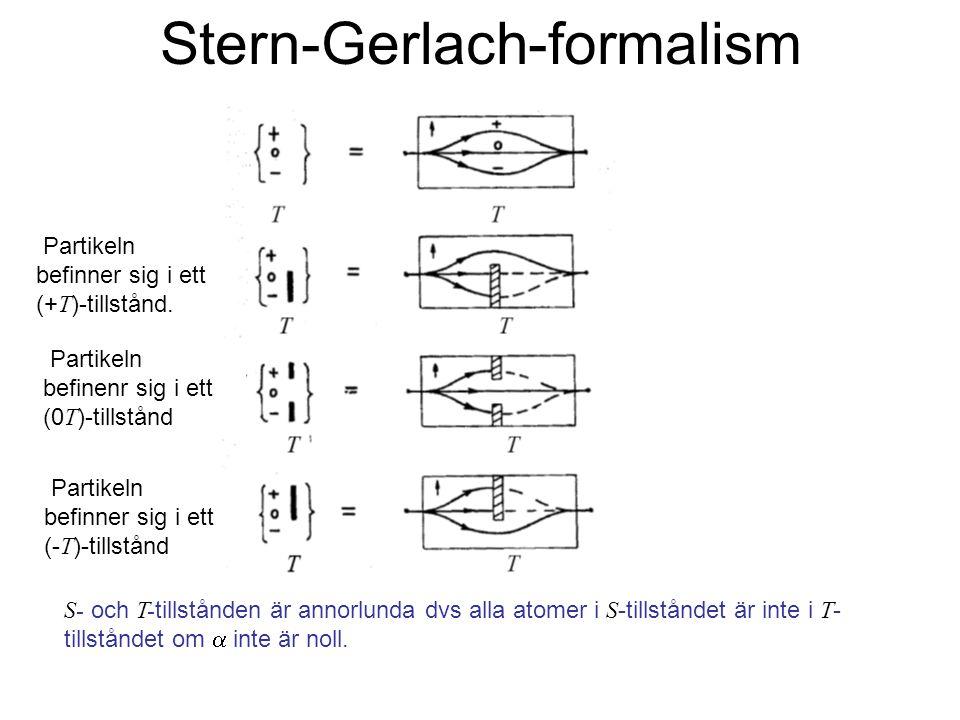 Fk3002 Kvantfysikens grunder11 Stern-Gerlach-formalism Partikeln befinner sig i ett (+ T )-tillstånd. Partikeln befinenr sig i ett (0 T )-tillstånd Pa