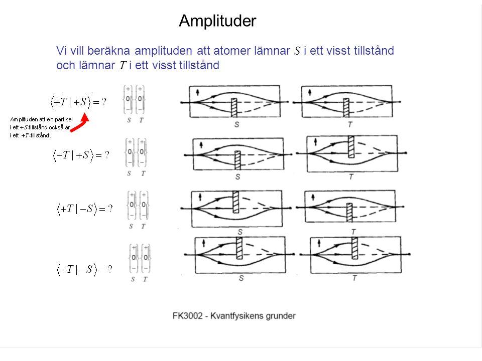 Fk3002 Kvantfysikens grunder12 Amplituder Vi vill beräkna amplituden att atomer lämnar S i ett visst tillstånd och lämnar T i ett visst tillstånd