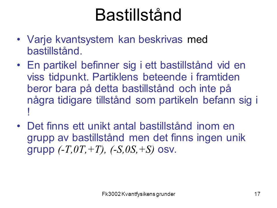 Fk3002 Kvantfysikens grunder17 Bastillstånd Varje kvantsystem kan beskrivas med bastillstånd. En partikel befinner sig i ett bastillstånd vid en viss