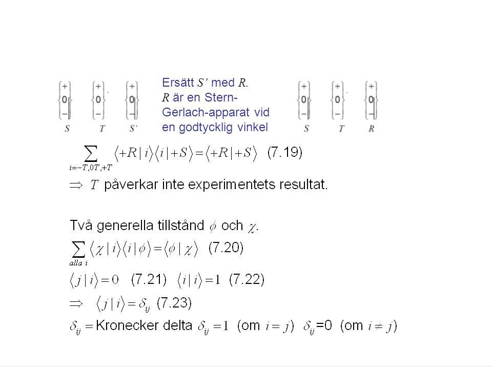 Fk3002 Kvantfysikens grunder22 Ersätt S' med R. R är en Stern- Gerlach-apparat vid en godtycklig vinkel