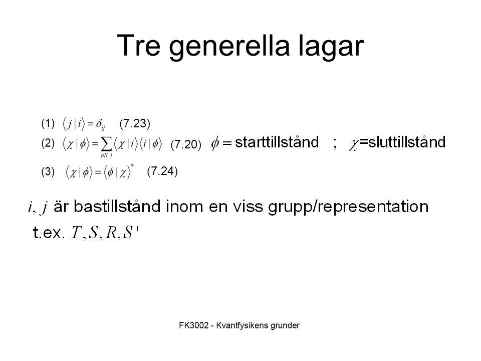 Fk3002 Kvantfysikens grunder23 Tre generella lagar (7.23) (7.20) (7.24)