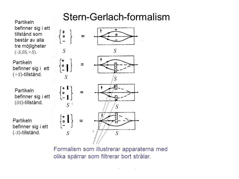 Fk3002 Kvantfysikens grunder4 Stern-Gerlach-formalism Partikeln befinner sig i ett ( +S )-tillstånd. Partikeln befinner sig i ett ( 0S )-tillstånd. Pa