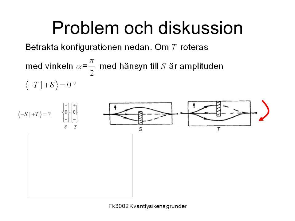 Fk3002 Kvantfysikens grunder20 Att filtrera genom olika basstillånd Olika experiment: (a), (b),(c) samt (d) Filtrera genom S,T,S' N atomer efter S,  N  efter T,  N efter S' Filtrera genom S,T,S' N atomer efter S,  N  efter T,  N efter S' Öppna T N atomer – antalet atomer som passerar genom har ökats 0 atomer – antalet atomer som passerar genom har minskats.