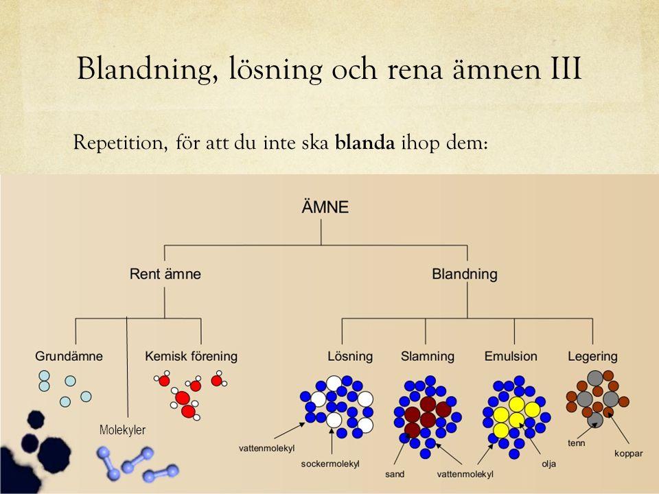 Blandning, lösning och rena ämnen III Repetition, för att du inte ska blanda ihop dem: Molekyler