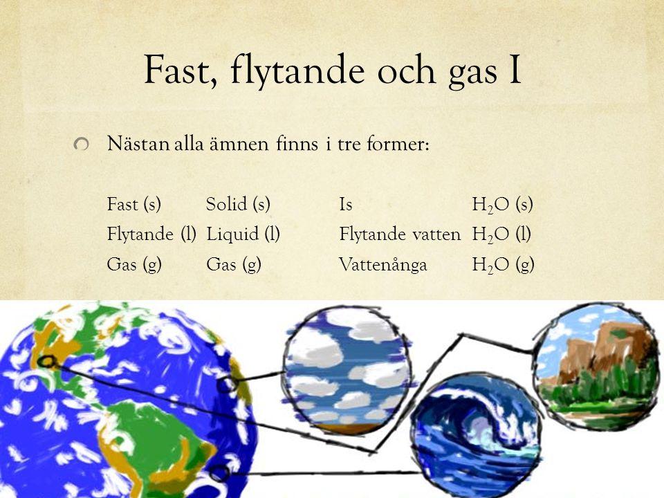 Fast, flytande och gas I Nästan alla ämnen finns i tre former: Fast (s) Solid (s)IsH 2 O (s) Flytande (l)Liquid (l)Flytande vattenH 2 O (l) Gas (g)Gas
