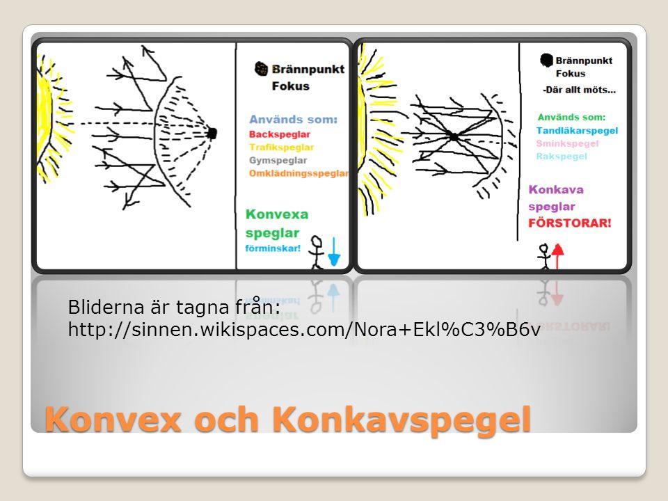 Konvex och Konkavspegel Bliderna är tagna från: http://sinnen.wikispaces.com/Nora+Ekl%C3%B6v