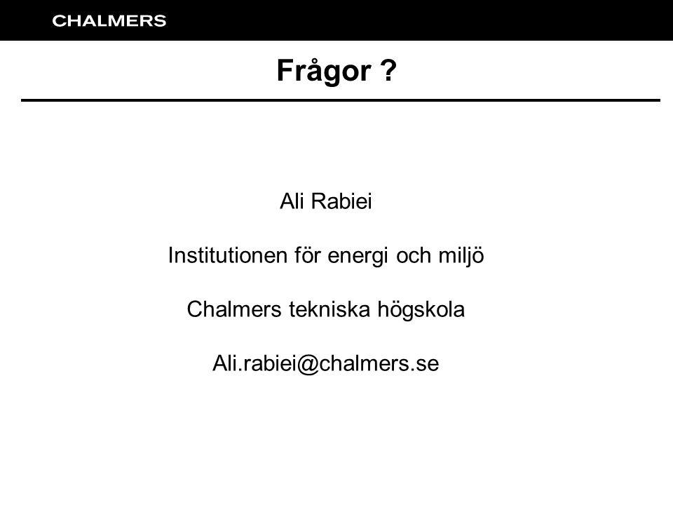 Frågor ? Ali Rabiei Institutionen för energi och miljö Chalmers tekniska högskola Ali.rabiei@chalmers.se