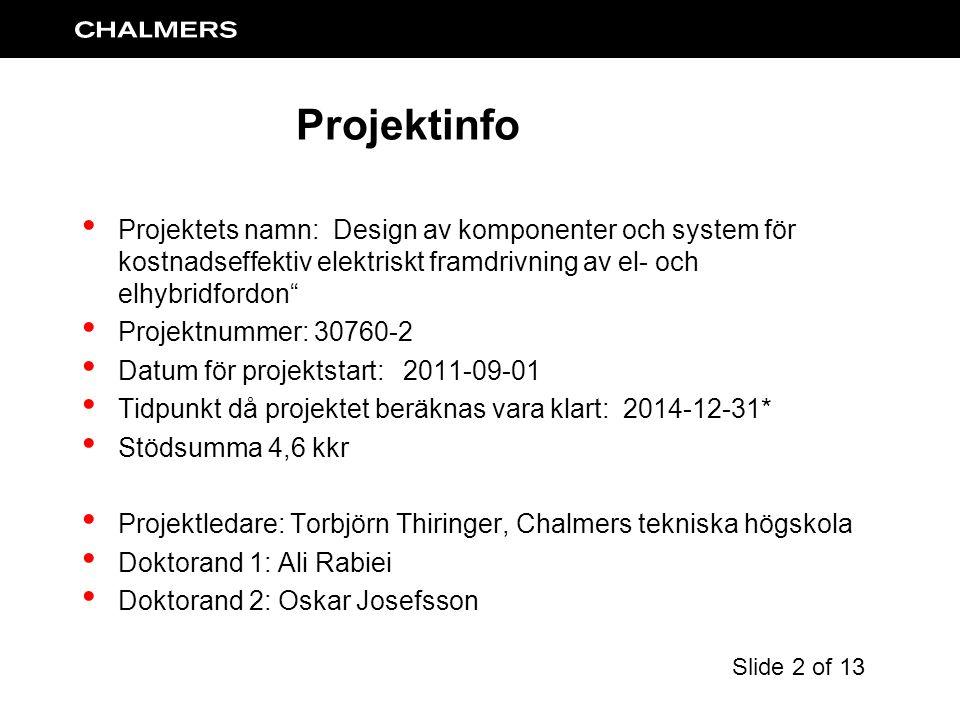 Projektets namn: Design av komponenter och system för kostnadseffektiv elektriskt framdrivning av el- och elhybridfordon Projektnummer: 30760-2 Datum för projektstart: 2011-09-01 Tidpunkt då projektet beräknas vara klart: 2014-12-31* Stödsumma 4,6 kkr Projektledare: Torbjörn Thiringer, Chalmers tekniska högskola Doktorand 1: Ali Rabiei Doktorand 2: Oskar Josefsson Projektinfo Slide 2 of 13