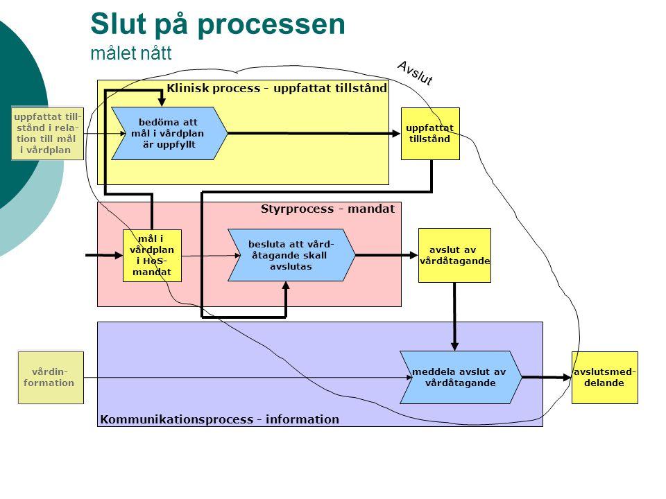 Slut på processen målet nått avslut av vårdåtagande Klinisk process - uppfattat tillstånd Styrprocess - mandat Kommunikationsprocess - information upp