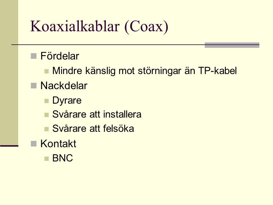 Koaxialkablar (Coax) Fördelar Mindre känslig mot störningar än TP-kabel Nackdelar Dyrare Svårare att installera Svårare att felsöka Kontakt BNC