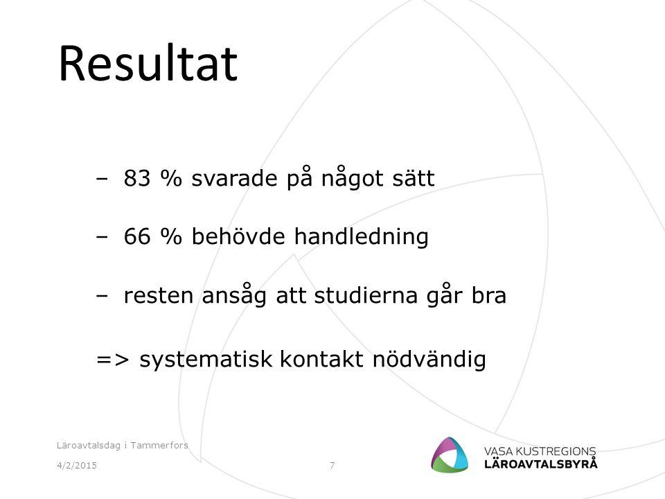 Resultat – 83 % svarade på något sätt – 66 % behövde handledning – resten ansåg att studierna går bra => systematisk kontakt nödvändig 4/2/2015 Läroav