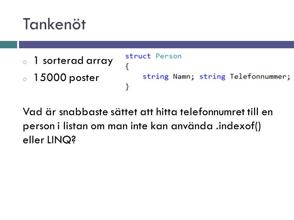 Tankenöt o 1 sorterad array o 15000 poster Vad är snabbaste sättet att hitta telefonnumret till en person i listan om man inte kan använda.indexof() eller LINQ