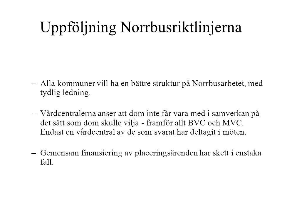 Uppföljning Norrbusriktlinjerna – Nio av tio kommuner anser att samarbetet lett till bättre hjälp för barn och unga – Ingen utvärdering av vilken betydelse Norrbussamarbetet har haft för stödet till barn och unga.