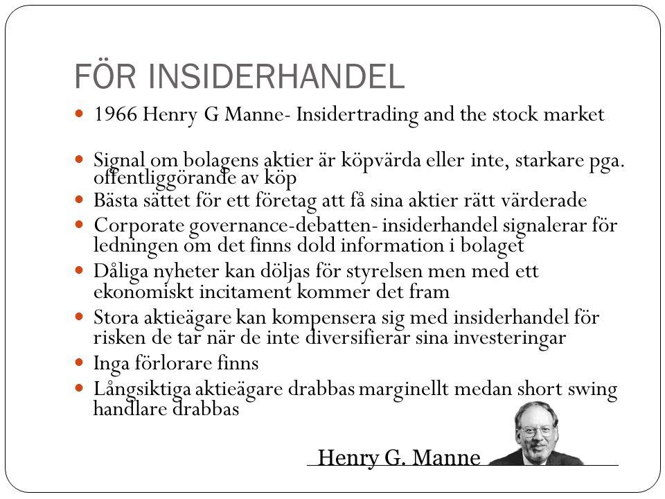 FÖR INSIDERHANDEL 1966 Henry G Manne- Insidertrading and the stock market Signal om bolagens aktier är köpvärda eller inte, starkare pga. offentliggör