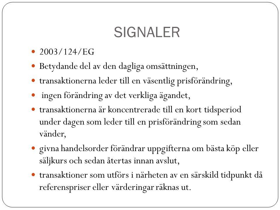 SIGNALER 2003/124/EG Betydande del av den dagliga omsättningen, transaktionerna leder till en väsentlig prisförändring, ingen förändring av det verkli