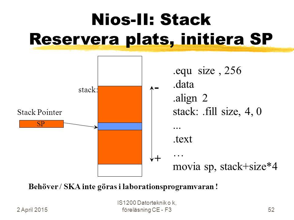 2 April 2015 IS1200 Datorteknik o k, föreläsning CE - F352 Nios-II: Stack Reservera plats, initiera SP Stack Pointer SP.equ size, 256.data.align2 stack:.fill size, 4, 0....text … movia sp, stack+size*4 + - stack: Behöver / SKA inte göras i laborationsprogramvaran !