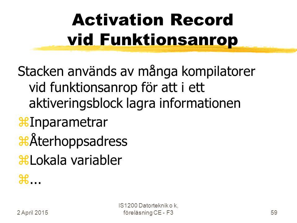2 April 2015 IS1200 Datorteknik o k, föreläsning CE - F359 Activation Record vid Funktionsanrop Stacken används av många kompilatorer vid funktionsanrop för att i ett aktiveringsblock lagra informationen zInparametrar zÅterhoppsadress zLokala variabler z...