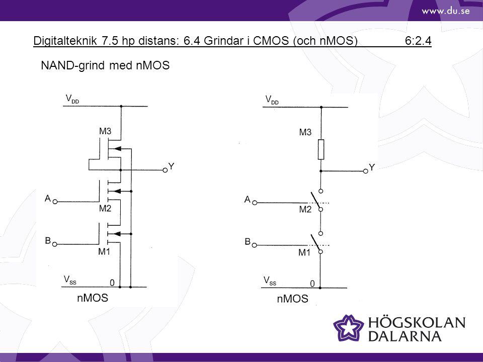 Digitalteknik 7.5 hp distans: 6.4 Grindar i CMOS (och nMOS) 6:2.4 NAND-grind med nMOS