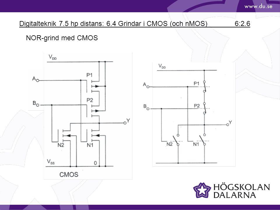 Digitalteknik 7.5 hp distans: 6.4 Grindar i CMOS (och nMOS) 6:2.6 NOR-grind med CMOS