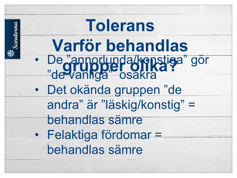 Tolerans Varför behandlas grupper olika.