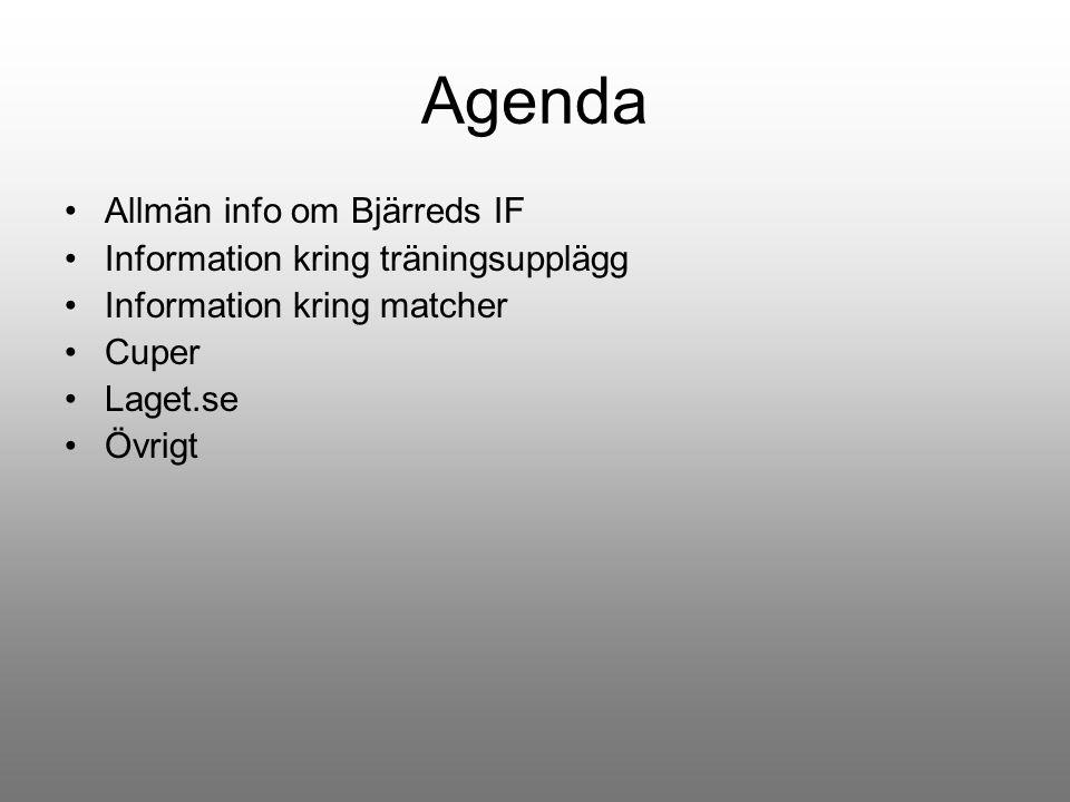 Agenda Allmän info om Bjärreds IF Information kring träningsupplägg Information kring matcher Cuper Laget.se Övrigt