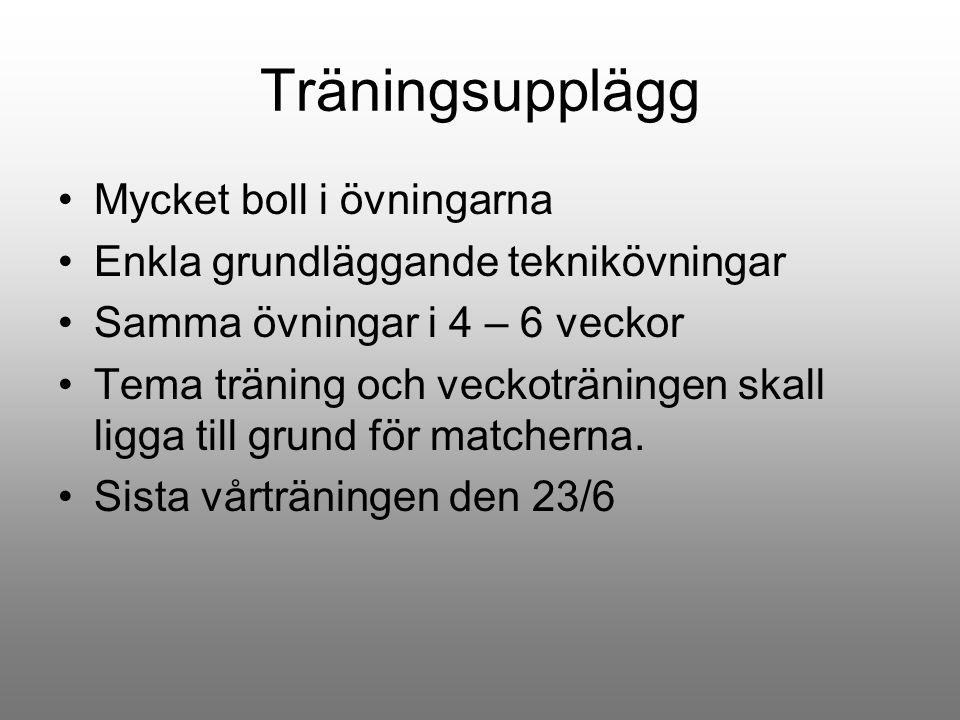 Träningsupplägg Mycket boll i övningarna Enkla grundläggande teknikövningar Samma övningar i 4 – 6 veckor Tema träning och veckoträningen skall ligga
