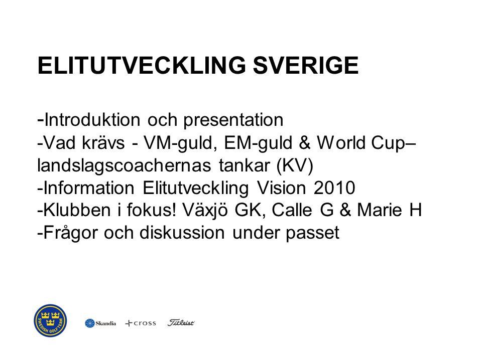 ELITUTVECKLING SVERIGE - Introduktion och presentation -Vad krävs - VM-guld, EM-guld & World Cup– landslagscoachernas tankar (KV) -Information Elitutveckling Vision 2010 -Klubben i fokus.