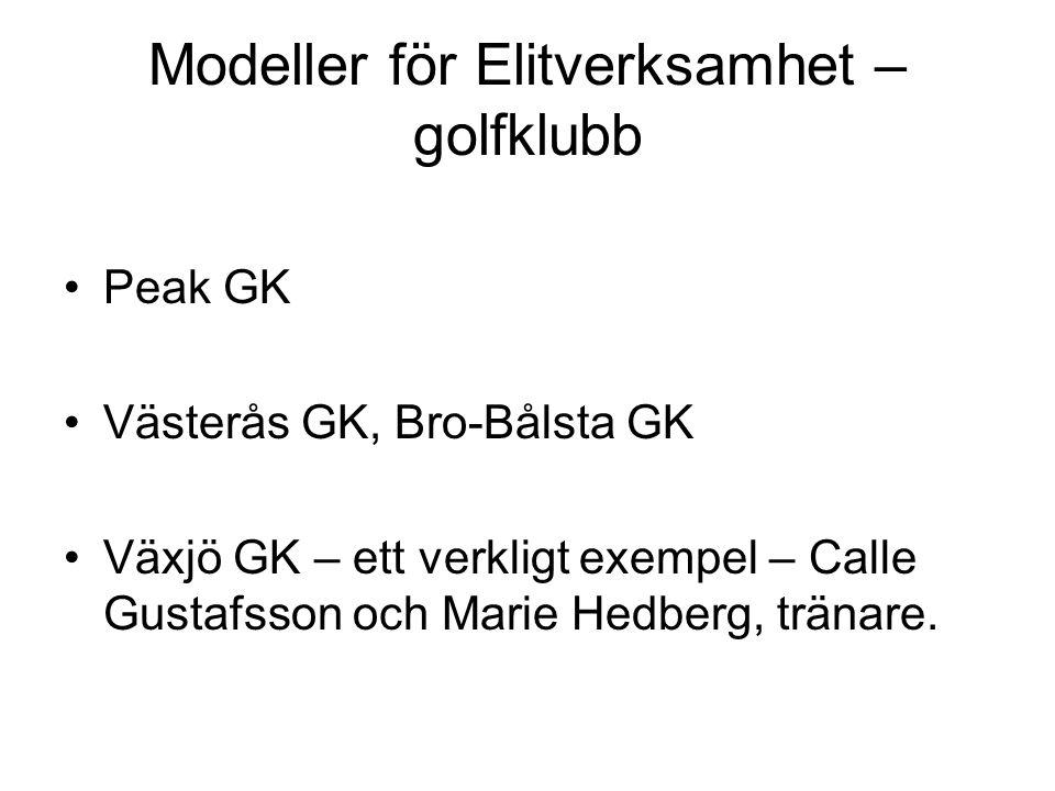 Modeller för Elitverksamhet – golfklubb Peak GK Västerås GK, Bro-Bålsta GK Växjö GK – ett verkligt exempel – Calle Gustafsson och Marie Hedberg, tränare.