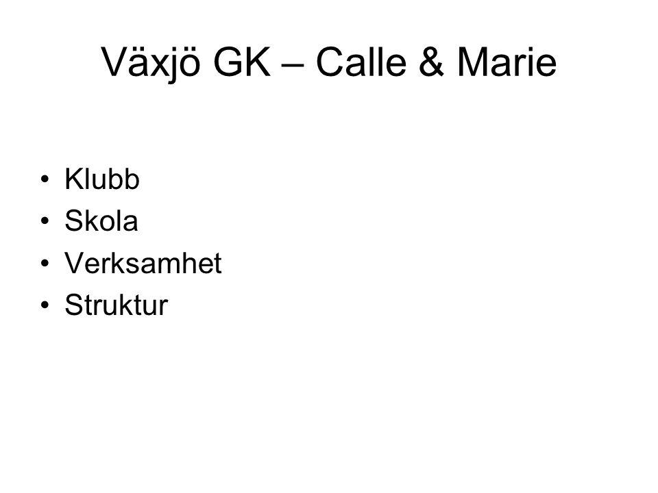 Växjö GK – Calle & Marie Klubb Skola Verksamhet Struktur