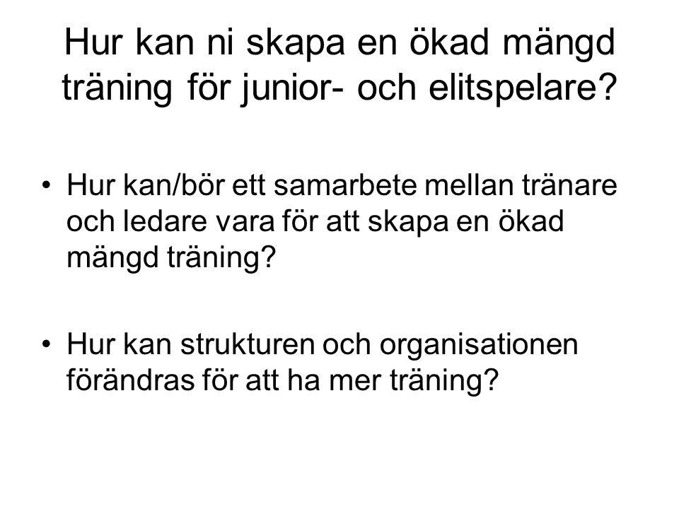 Hur kan ni skapa en ökad mängd träning för junior- och elitspelare.