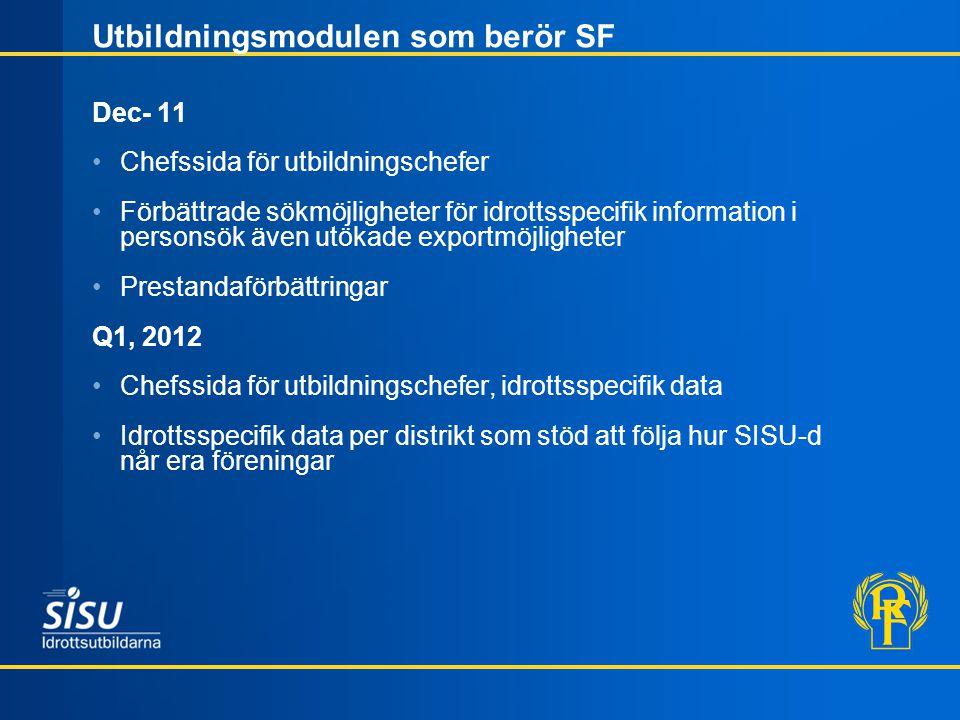 Utbildningsmodulen som berör SF Dec- 11 Chefssida för utbildningschefer Förbättrade sökmöjligheter för idrottsspecifik information i personsök även utökade exportmöjligheter Prestandaförbättringar Q1, 2012 Chefssida för utbildningschefer, idrottsspecifik data Idrottsspecifik data per distrikt som stöd att följa hur SISU-d når era föreningar