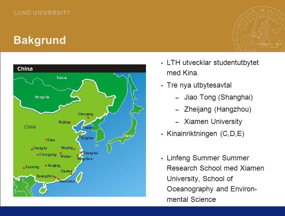 2 L U N D U N I V E R S I T Y Linfeng Summer Research School 2008 Sommarkurs 7,5 hp för Ekosystemteknik på Teknisk Vattenresurslära Kursperiod 16/6 - 14/7 2008 Research project inom – Marinbiologi – Marinkemi – Vattenteknik Studenter från Xiamen och LTH jobbar tillsammans 1+1.