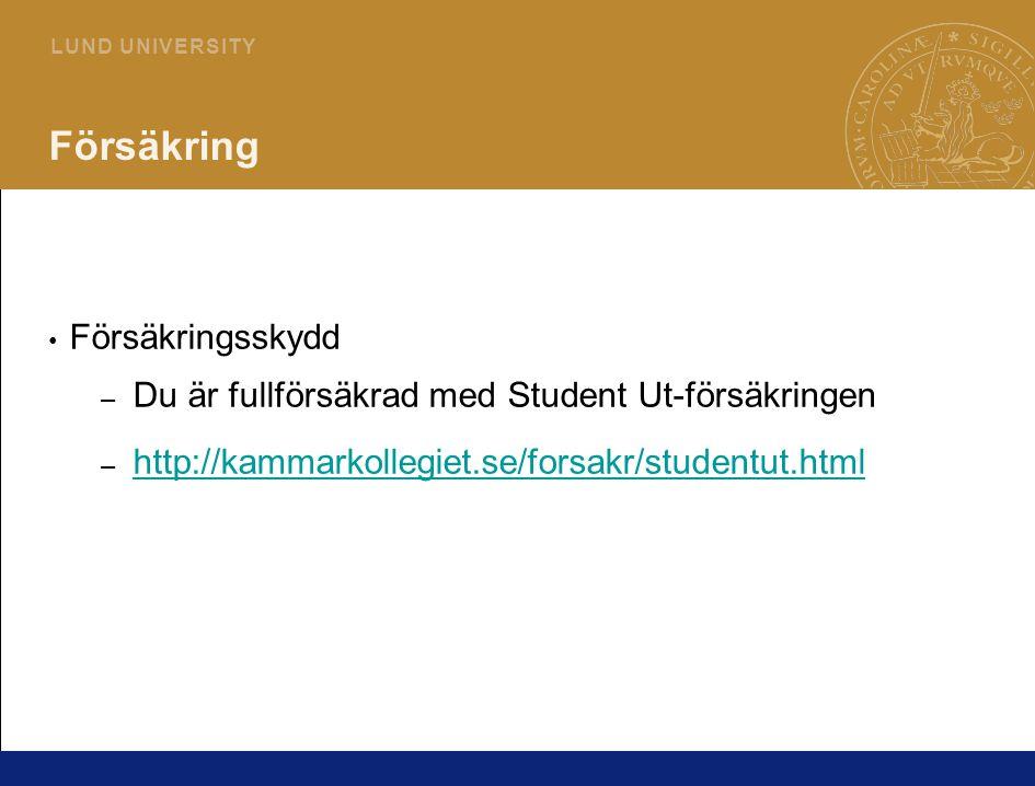 12 L U N D U N I V E R S I T Y Försäkring Försäkringsskydd – Du är fullförsäkrad med Student Ut-försäkringen – http://kammarkollegiet.se/forsakr/studentut.html http://kammarkollegiet.se/forsakr/studentut.html