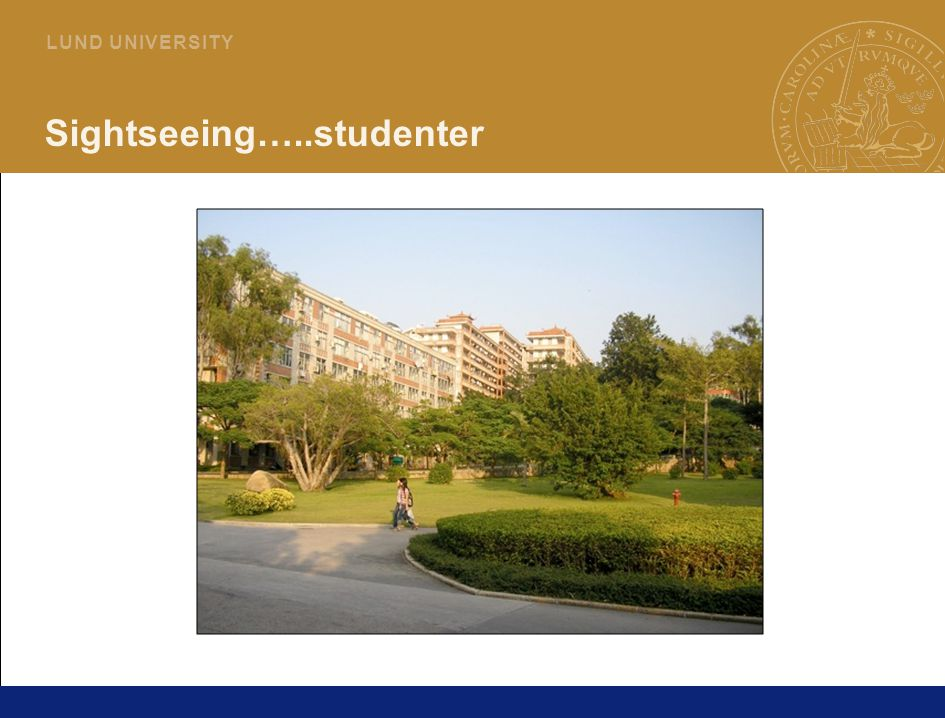 8 L U N D U N I V E R S I T Y Sightseeing…..studentmiljö