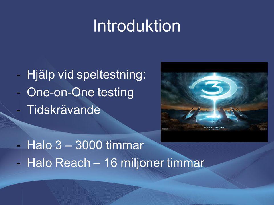 Introduktion -Hjälp vid speltestning: -One-on-One testing -Tidskrävande -Halo 3 – 3000 timmar -Halo Reach – 16 miljoner timmar